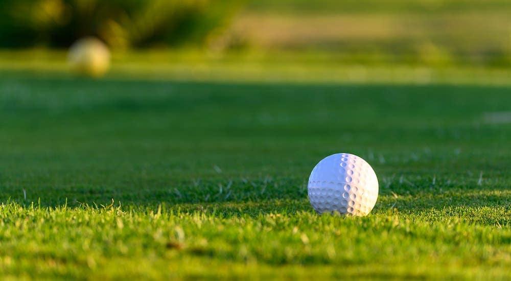 A closeup shows a golf ball on a Denver golf course.
