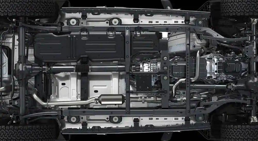 The undercarriage of a 2019 Jeep Wrangler is shown.