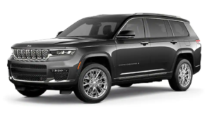 A grey 2021 Jeep Grand Cherokee L is angled left.