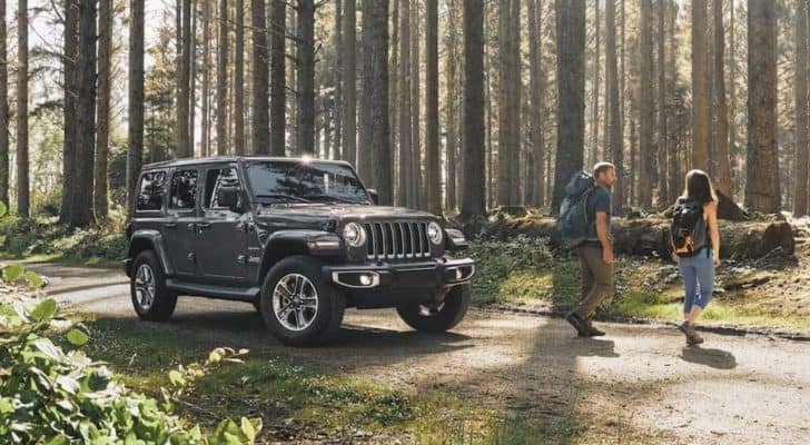 A grey 2020 Jeep Wrangler Unlimited is shown parked on a dirt road in the forest.