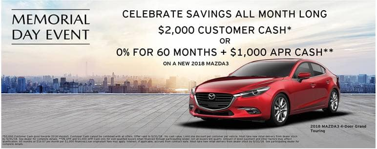 2018 Mazda3 Memorial Day Event Offers