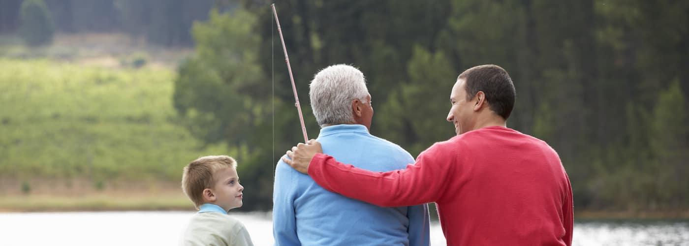 Family Fishing Off Pier