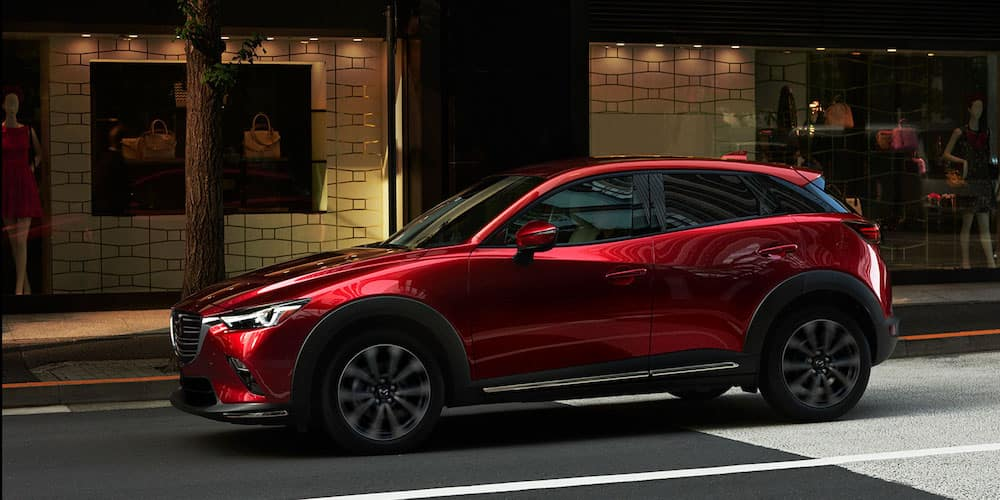 Red 2019 Mazda CX-3 Parked Outside Shop
