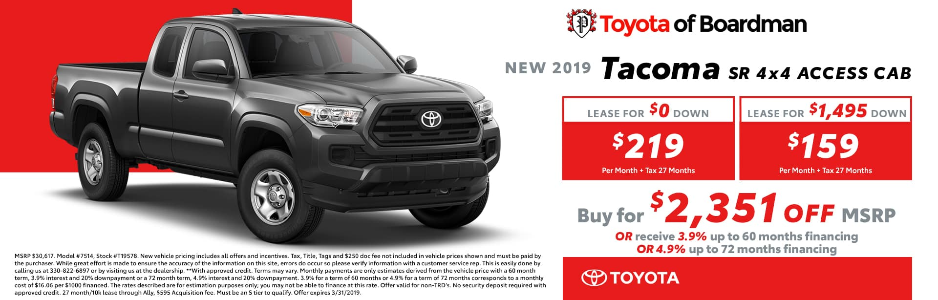 March Special on the 2019 Toyota Tacoma