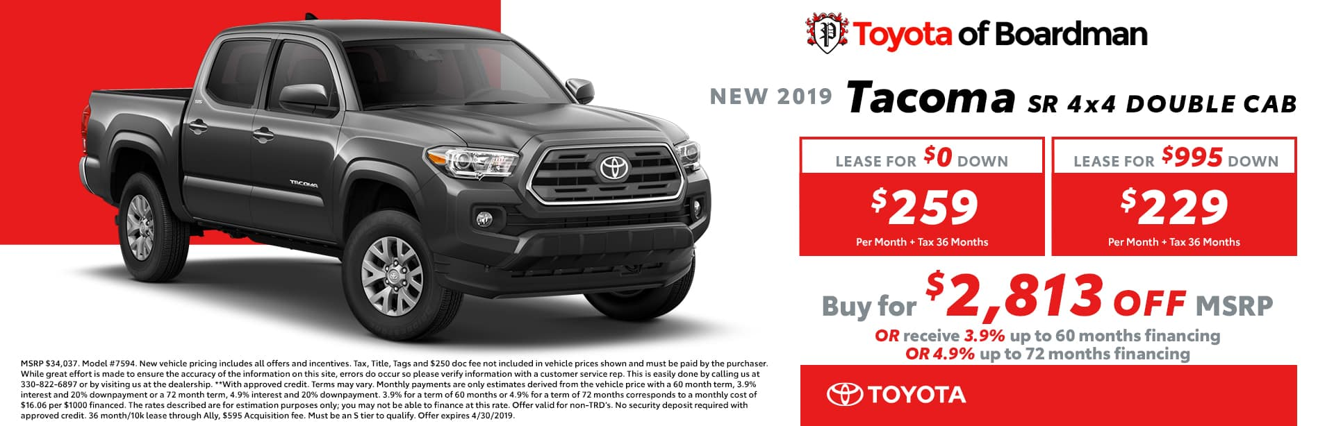April Special on the 2019 Toyota Tacoma