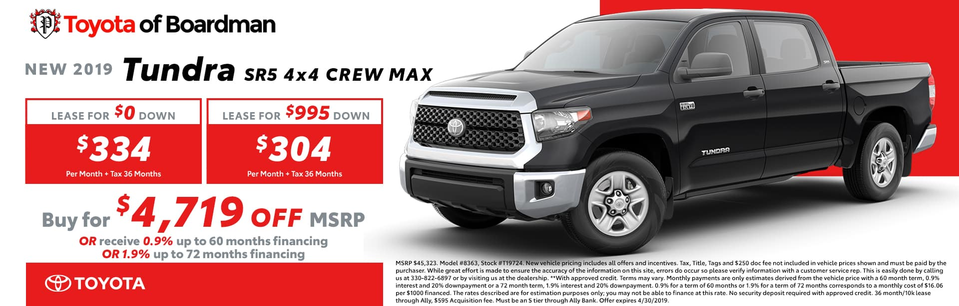 April Special on the 2019 Toyota Tundra