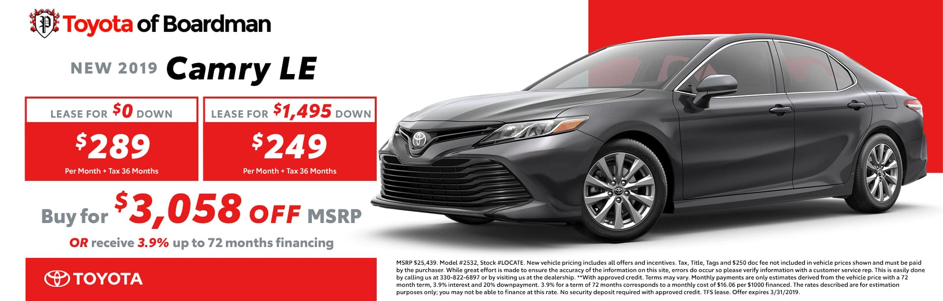March Special on the 2019 Toyota Camry LE