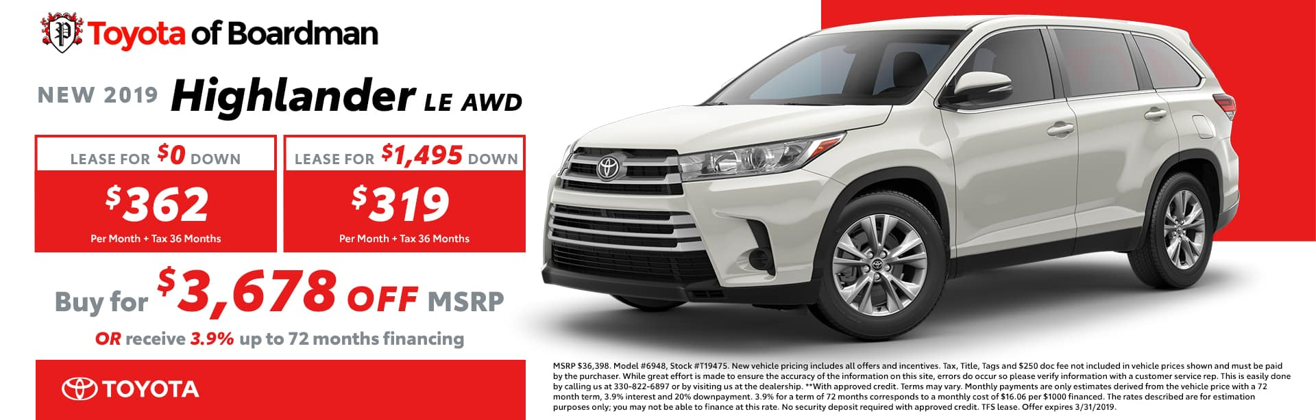 March Special on the 2019 Toyota Highlander LE