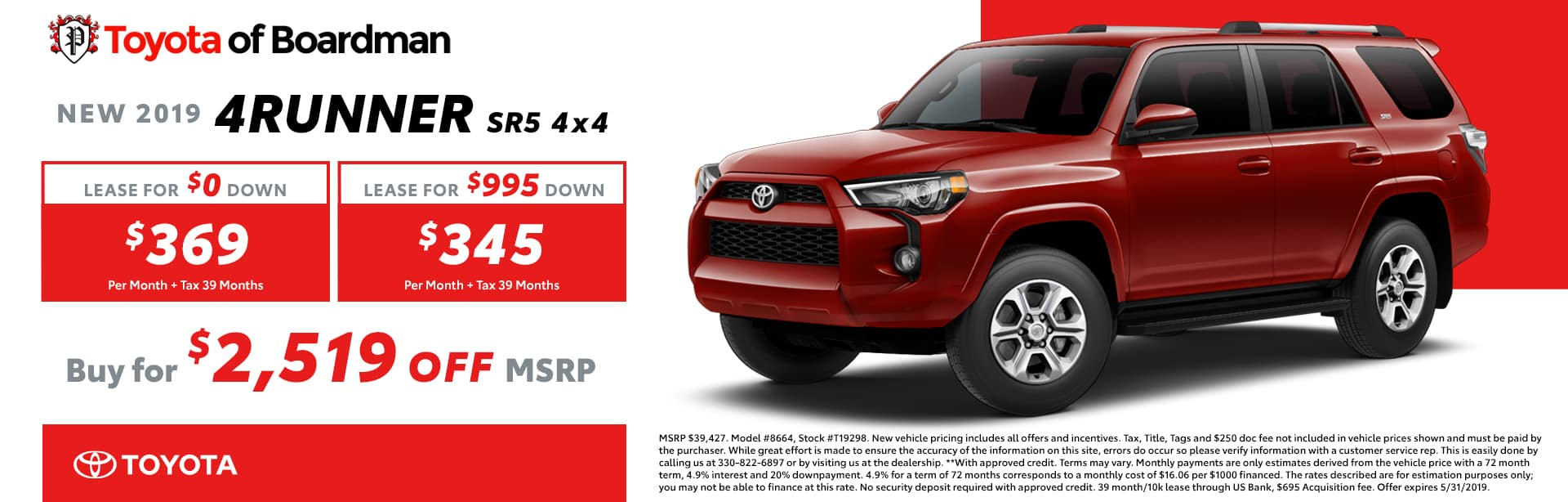 May special on the 2019 Toyota 4Runner