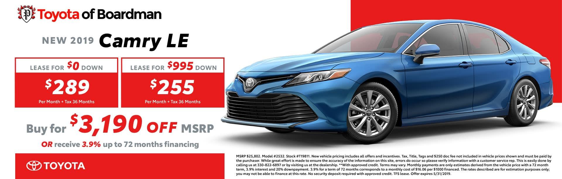 May special on the 2019 Toyota Camry LE