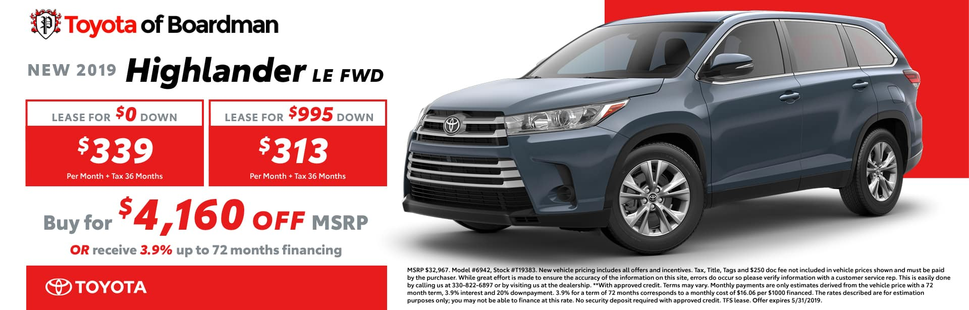 May special on the 2019 Toyota Highlander LE