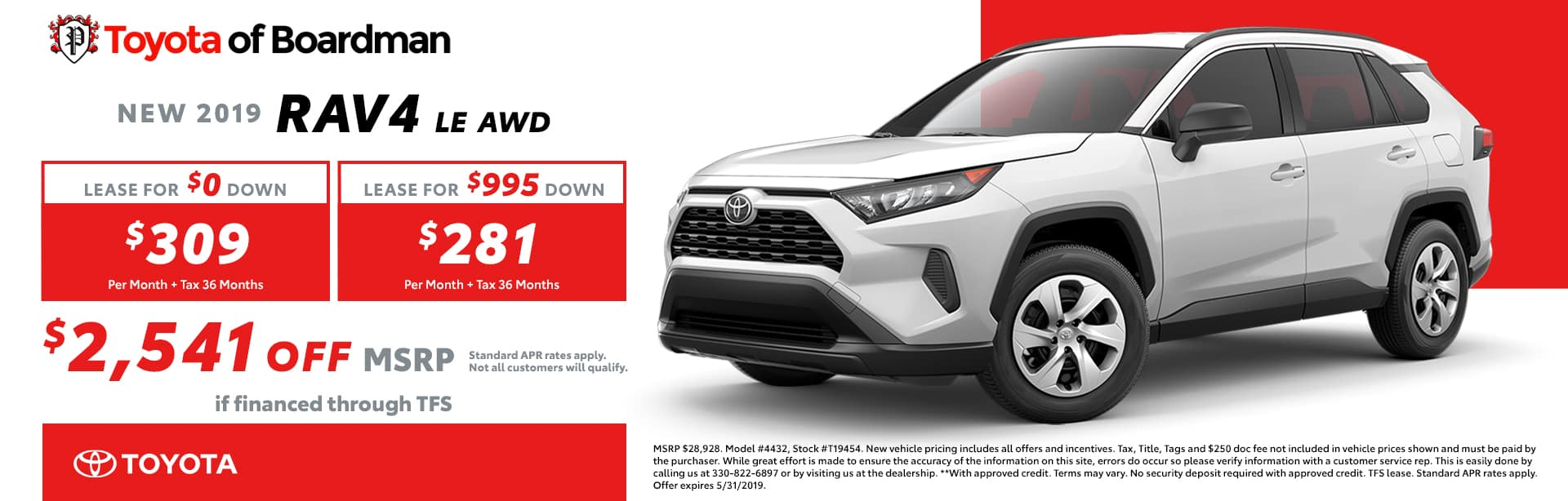 May special on the 2019 Toyota RAV4 LE