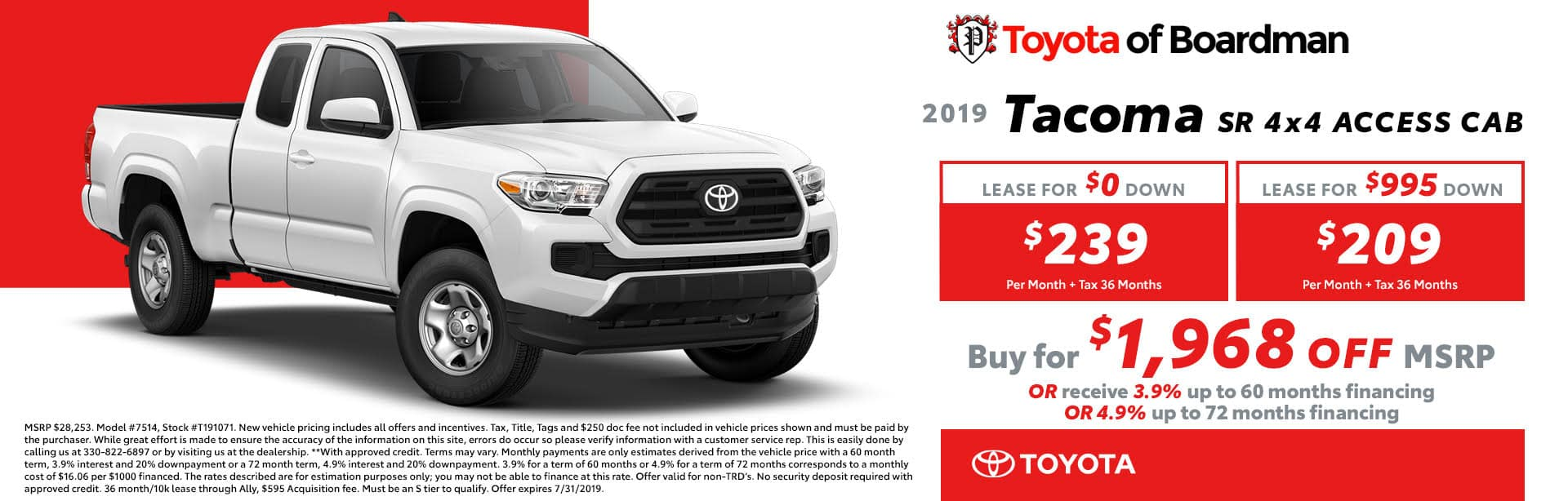 July special on the 2019 Toyota Tacoma