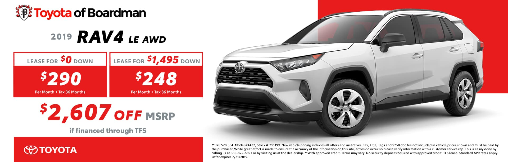 July special on the 2019 Toyota RAV4