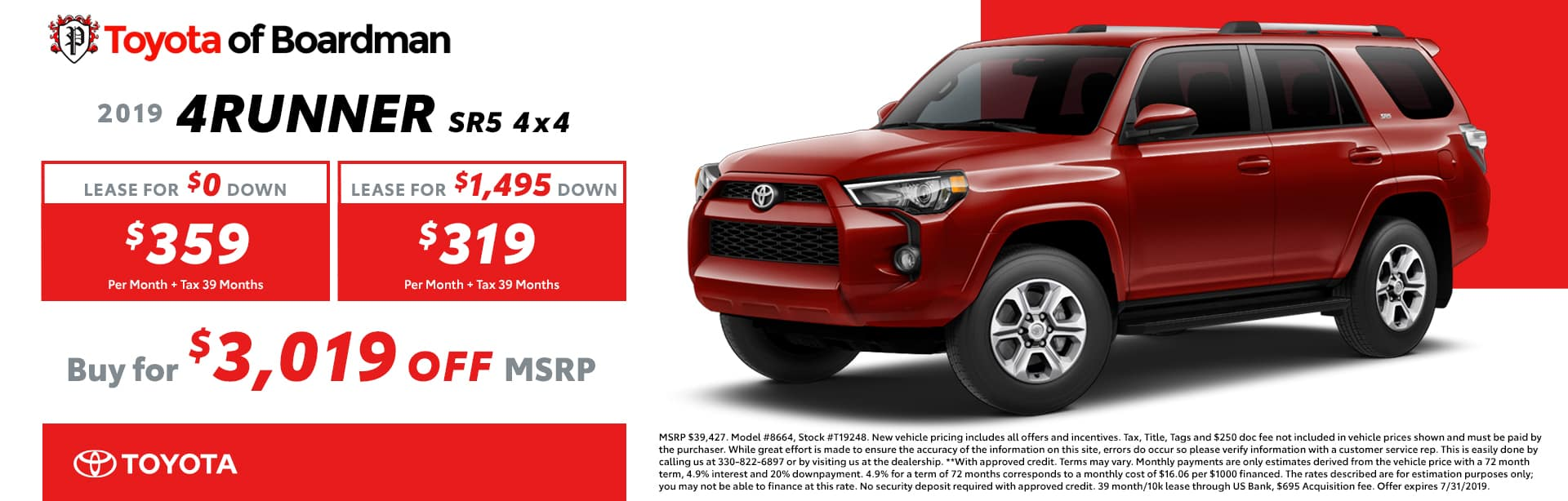 July special on the 2019 Toyota 4Runner