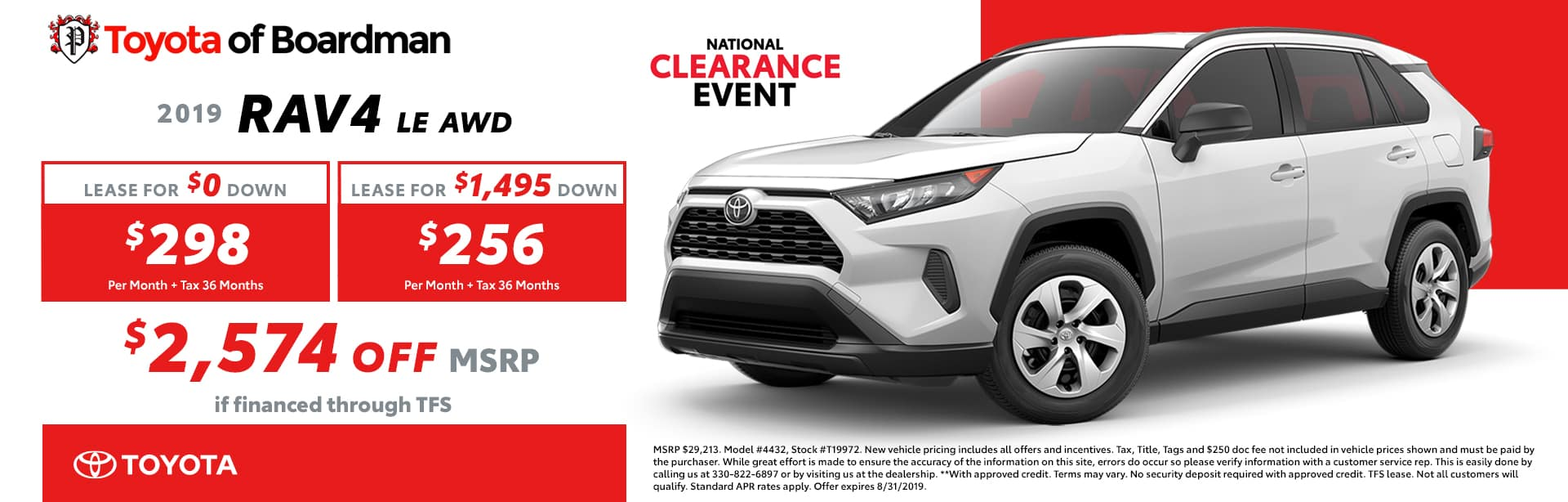 August special on the 2019 Toyota RAV4