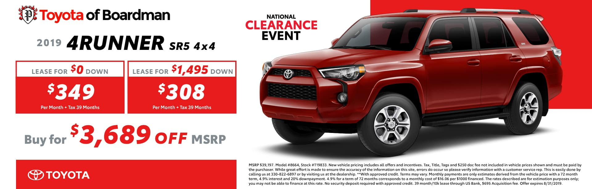 August special on the 2019 4Runner