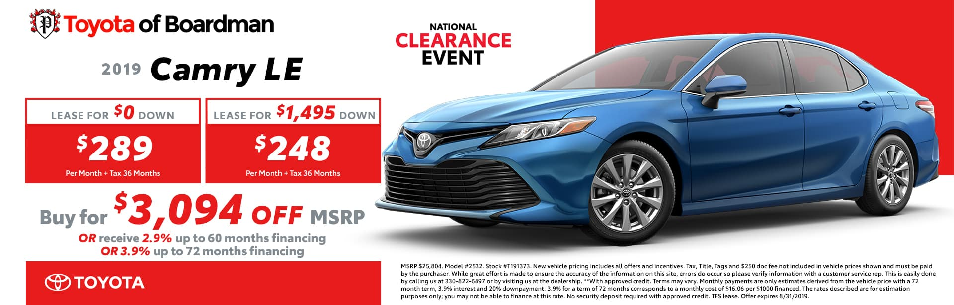 August Special on the 2019 Toyota Camry
