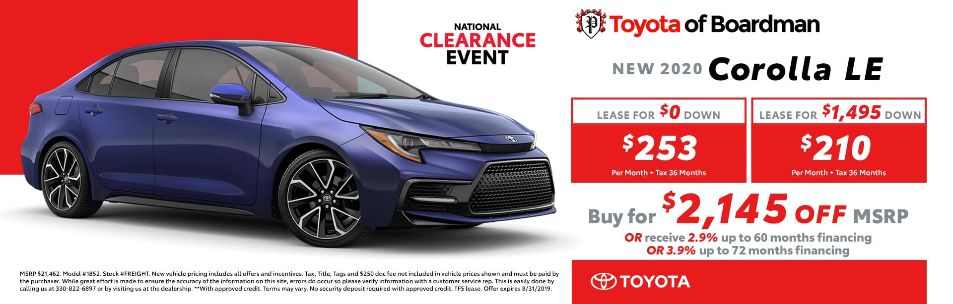 August special on the 2019 Toyota Corolla