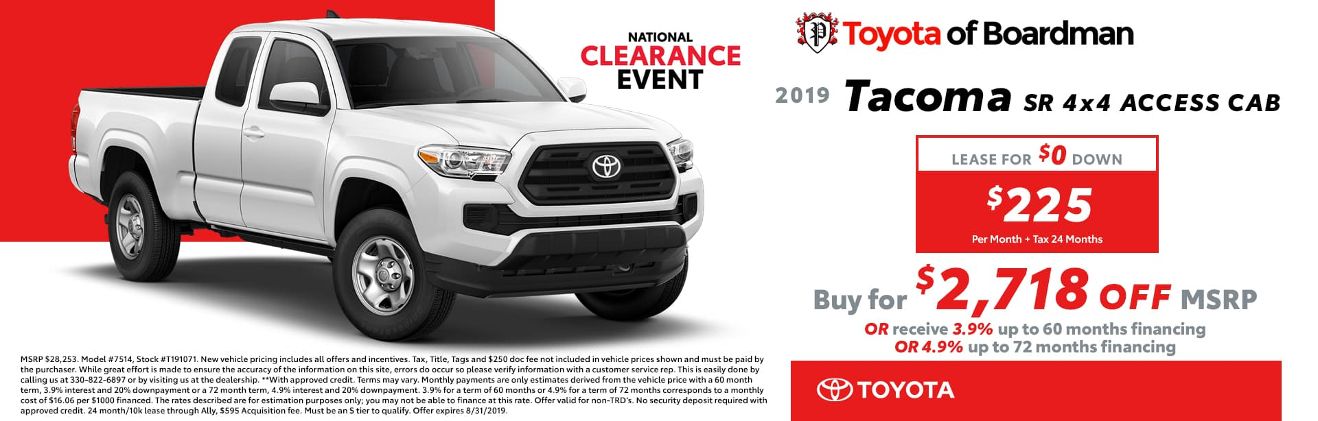 August special on the 2019 Toyota Tacoma