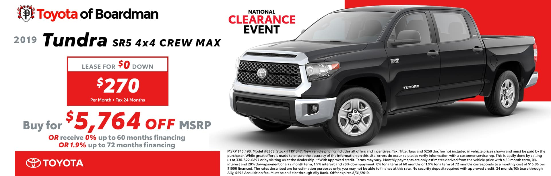 August special on the 2019 Tundra