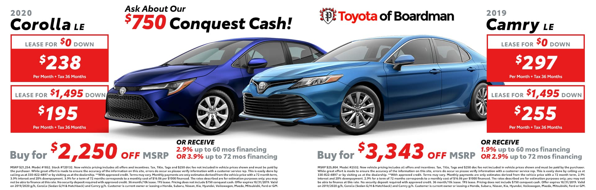 October special on the 2019 Toyota Camry & Corolla