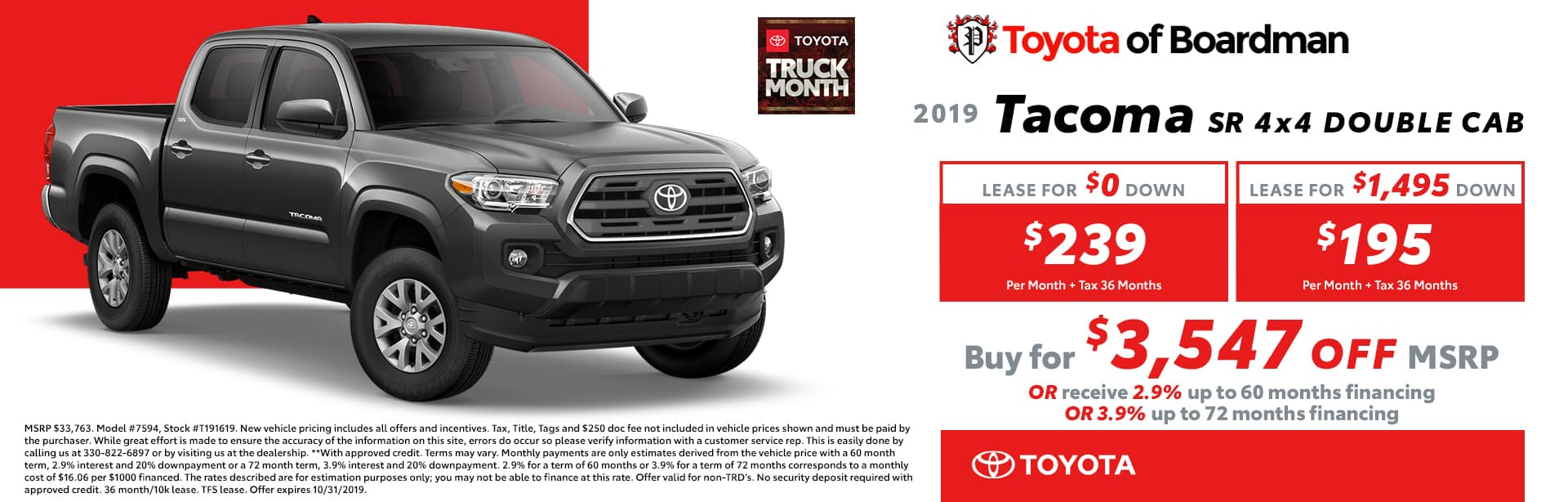 October special on the 2019 Toyota Tacoma