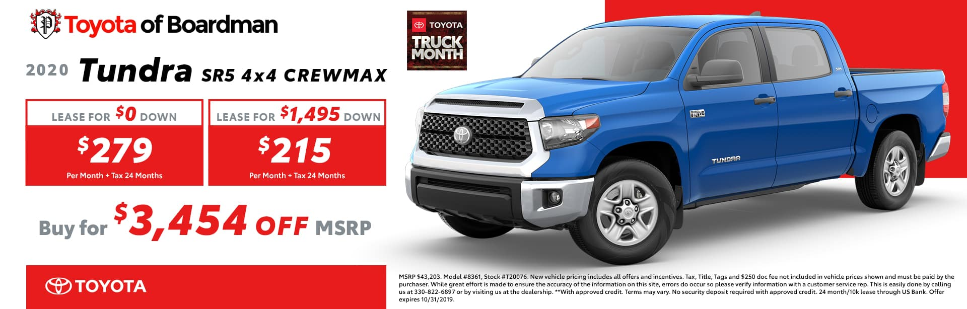 October special on the 2020 Toyota Tundra
