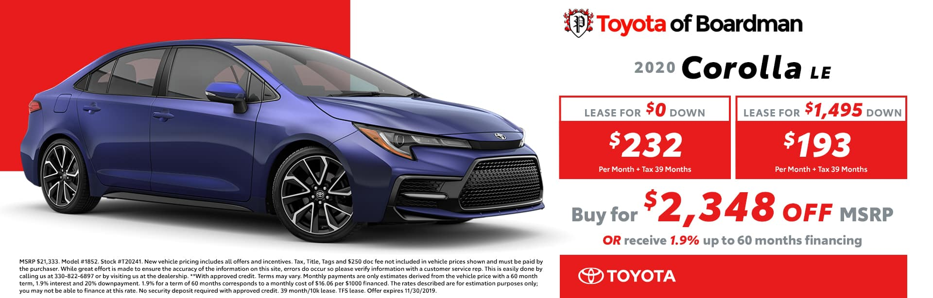 November special on the Toyota Corolla