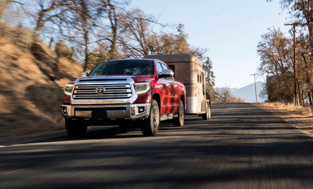 Toyota Tundra Towing a Horse Trailer