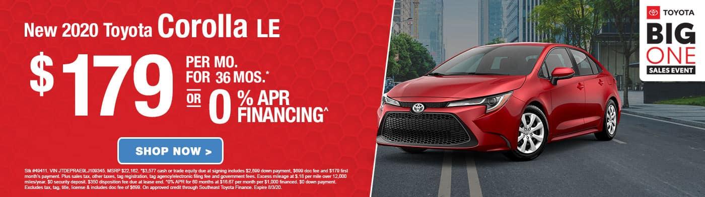 Big One Sales Event 0% APR Corolla LE