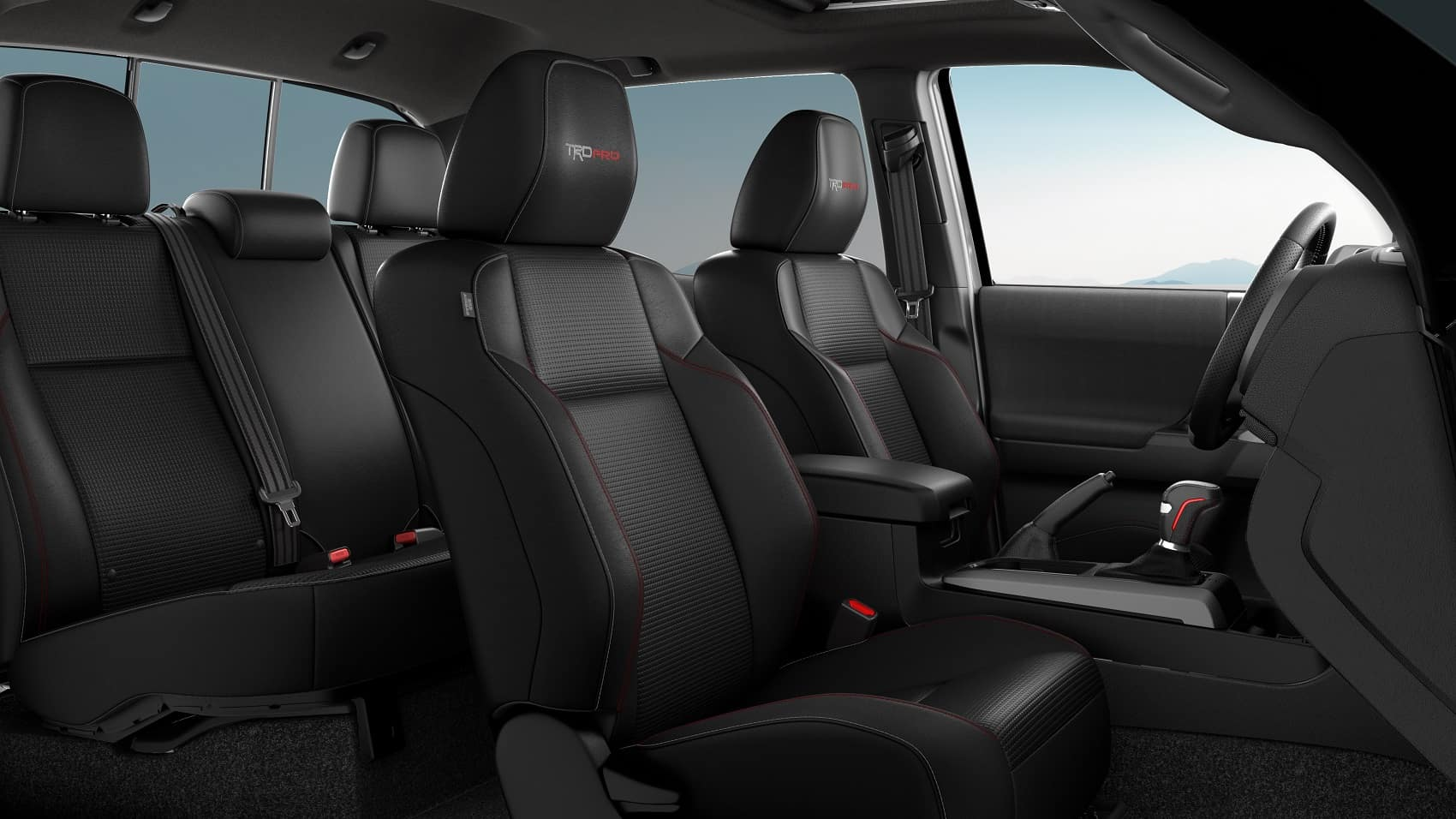 2020 Toyota Tacoma Interior with Black TRD Pro leather-trimmed heated front seats