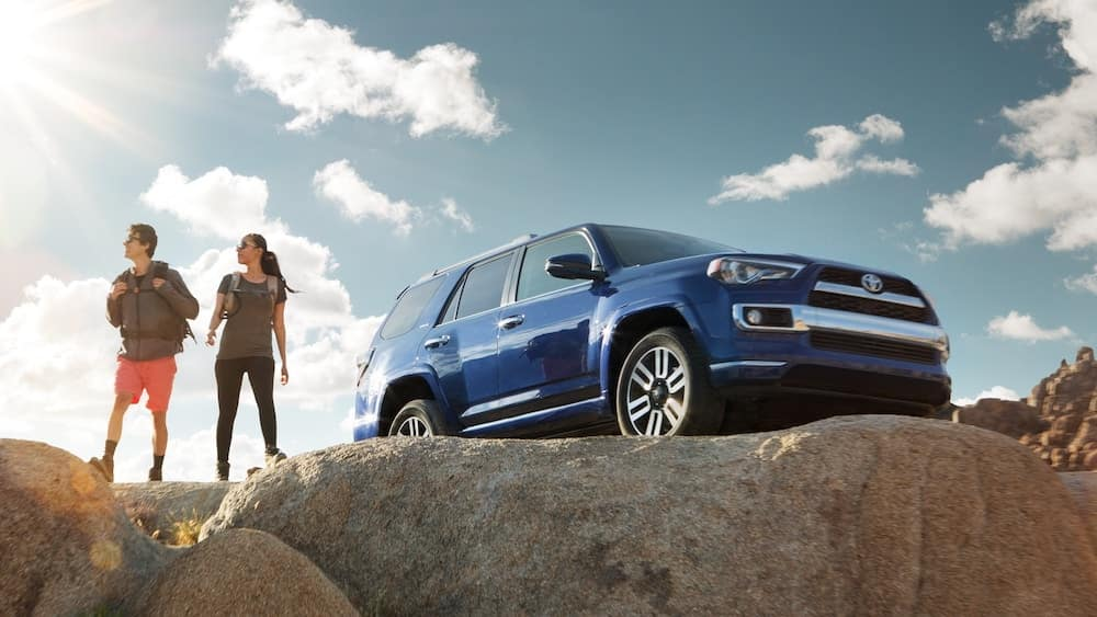 2019 Toyota 4Runner blue by a cliff