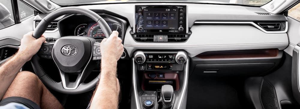 2019 Toyota RAV4 interior dashboard and Entune infotainment center