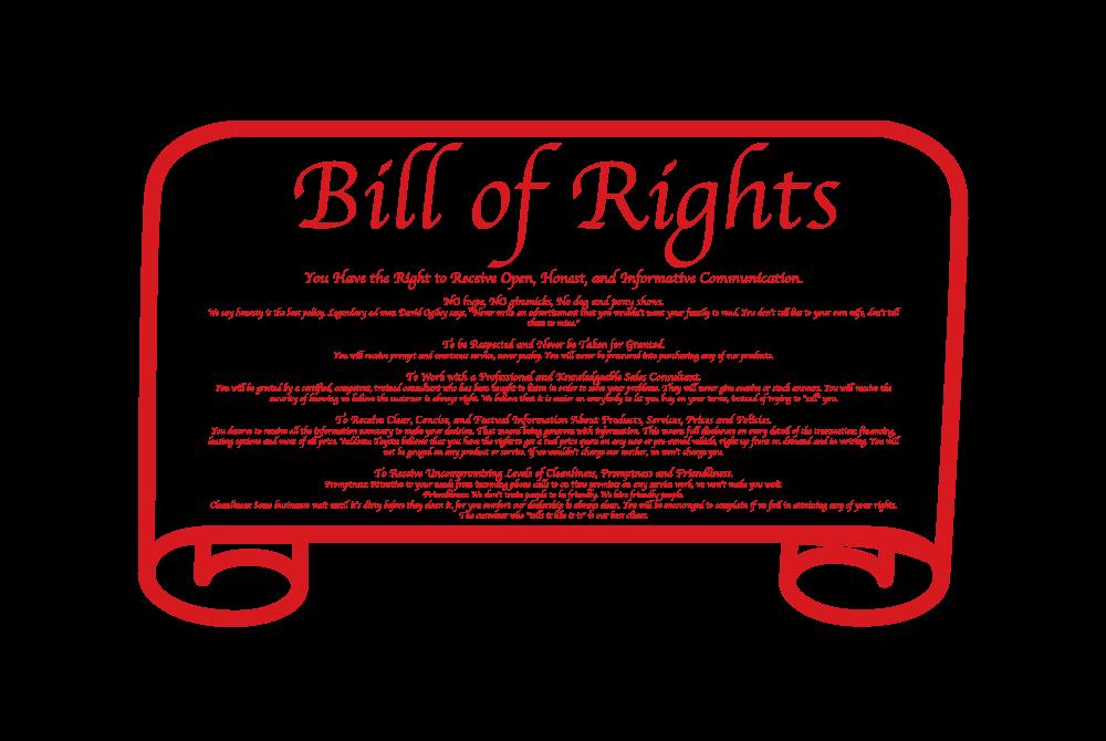 Valdosta Toyota bill of rights image